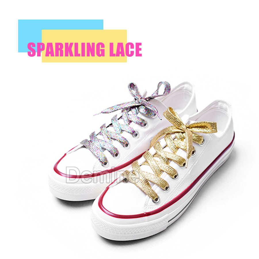 110cm Parlak Ayakkabı Bağcıkları Erkek Kadın Düz kanvas ayakkabılar Renkli Çizme Dantel Moda Ayakabı Glitter Sneaker Altın Ayakkabı Bağı Dize
