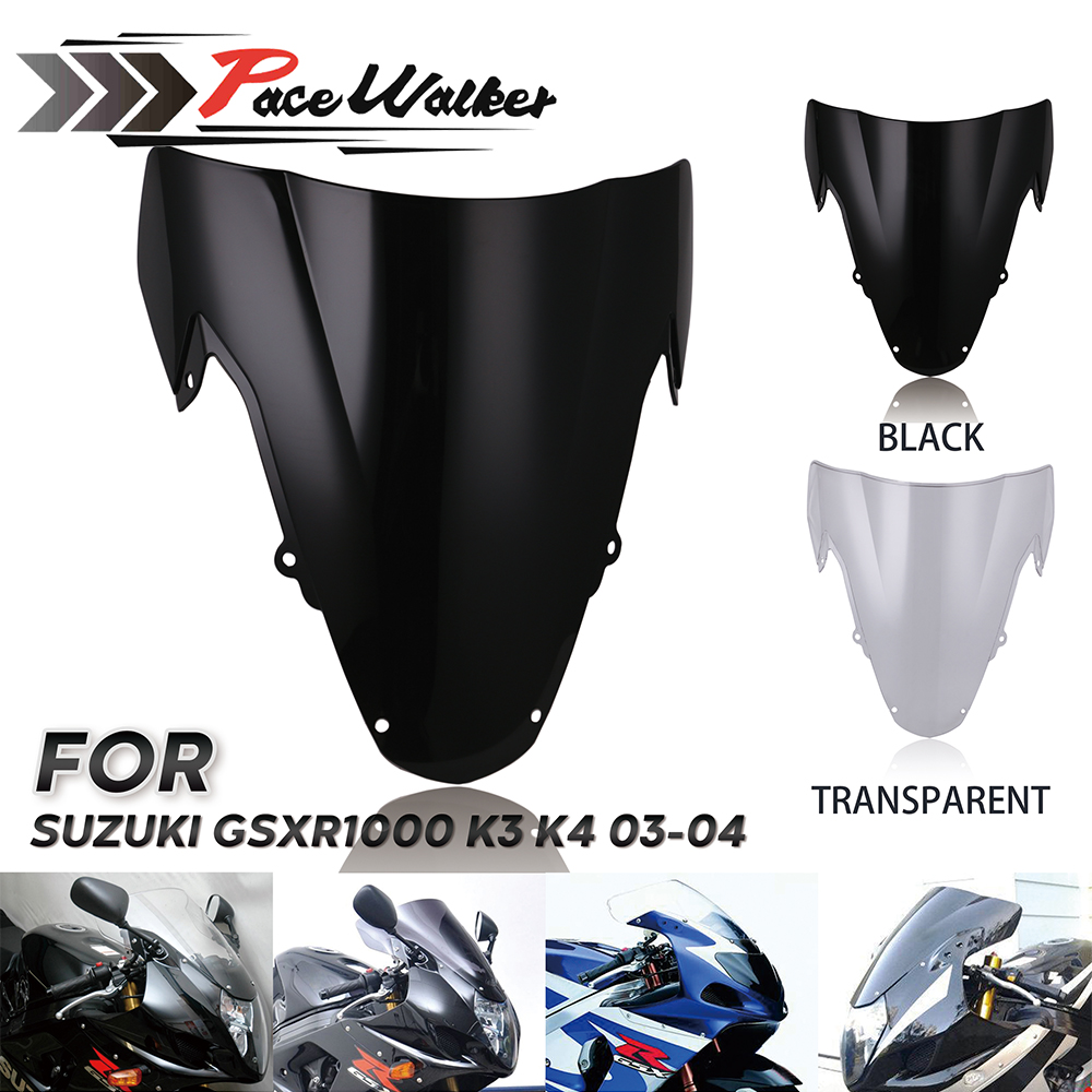 Hight Quality SmokeTransparent ABS Motorcycle Windshield WindScreen Double Bubble For SUZUKI GSXR1000 K3 K4 2003 2004 GSXR 1000