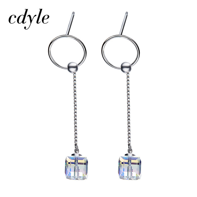 Cdyle Crystals from Swarovski Dangle Earrings Women Earring Chic Mixed  Color Long Chain Sexy Fashion 925 Sterling Silver Jewelry 6da4e1d9972f