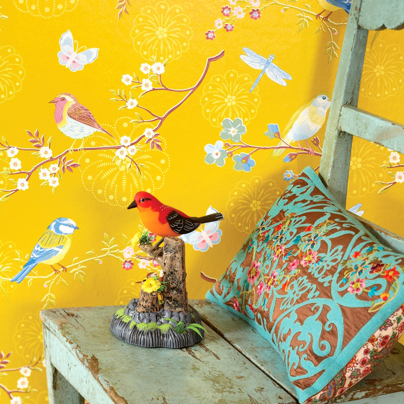 Pastoral Flowers and Birds Non-woven Wallpaper Floral For Bedroom Living Room TV Background Home Decor Wall Covering Roll YellowPastoral Flowers and Birds Non-woven Wallpaper Floral For Bedroom Living Room TV Background Home Decor Wall Covering Roll Yellow