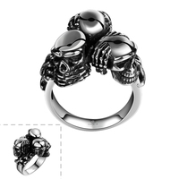 HERMOSA Jewelry New Men S 3 Skeleton Shape Party Accessories Stainless Steel Ring Size 8 9
