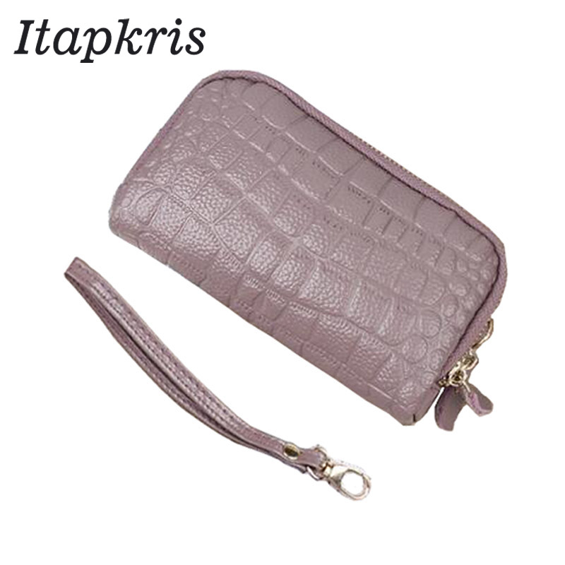 Genuine Leather Crocodile Women Coin Bag Purse Zipper Organizer Wallets Clutch Wristlet Phone Key Case Credit Card Holder Tote