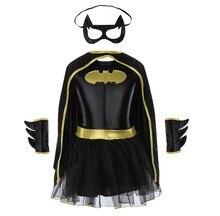 Kinder Mädchen Batman Batgirl Phantasie Kleid Superheld-kostüm Outfits Comic Cosplay