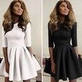 Nueva primavera otoño mujeres midi dress casual dress club party una línea dress o cuello mujeres vestidos de dama vestidos xd3854
