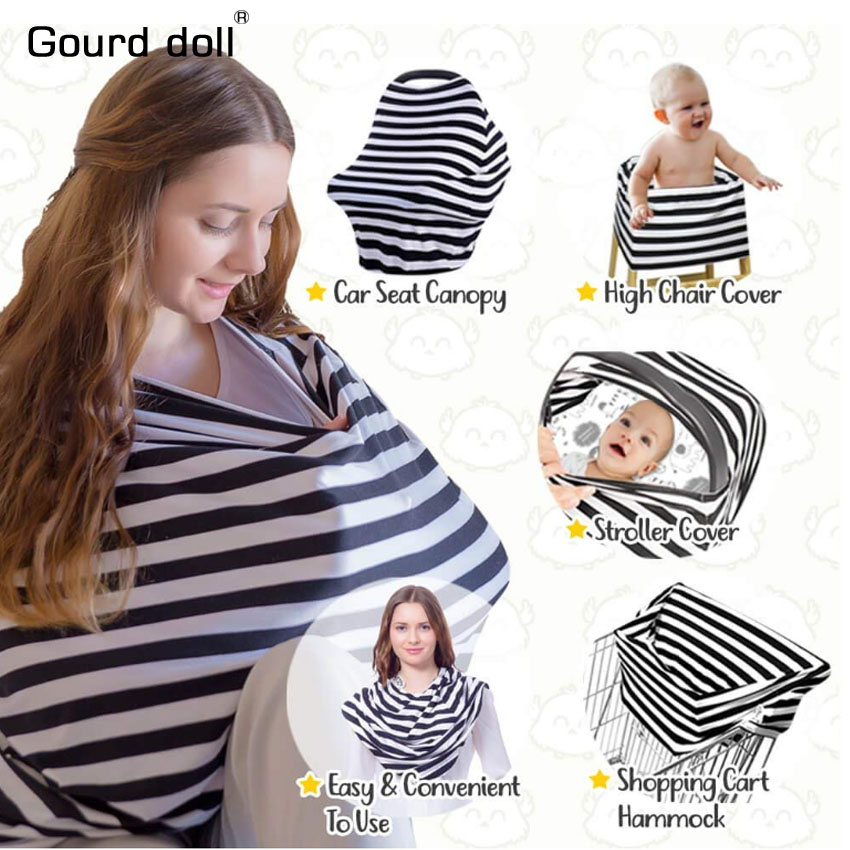 Nursing Breastfeeding Cover Multi use Baby Car seat Cover for Girls and Boys