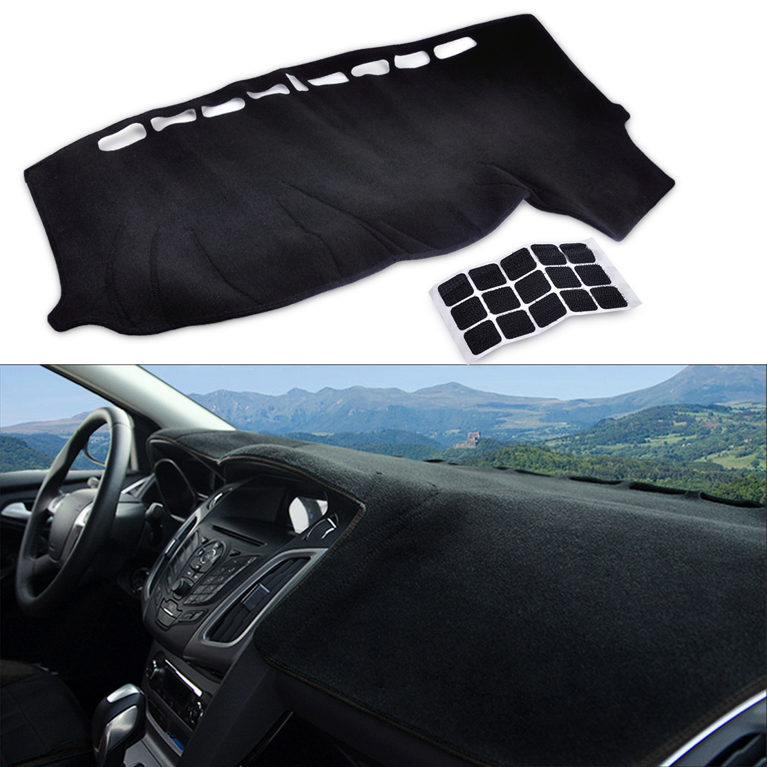 DWCX LHD Auto Inner Dashboard Carpet Dash Cover Pad DashMat Mat Sun Shade Protector for Ford Focus MK3 2012 2013 2014 2015 2016 dashboard cover