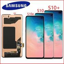 SUPER AMOLED LCDสำหรับSAMSUNG Galaxy S10e G970 S10จอแสดงผลG973 S10 Plus G975 G975F Touch Screen Digitizer Assembly