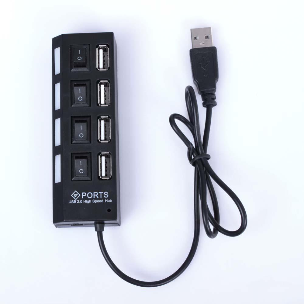 2015 Hot New 4 Port Tap USB 2.0 High Speed Hub ON/OFF Sharing Switch For Laptop PC Black #001 image