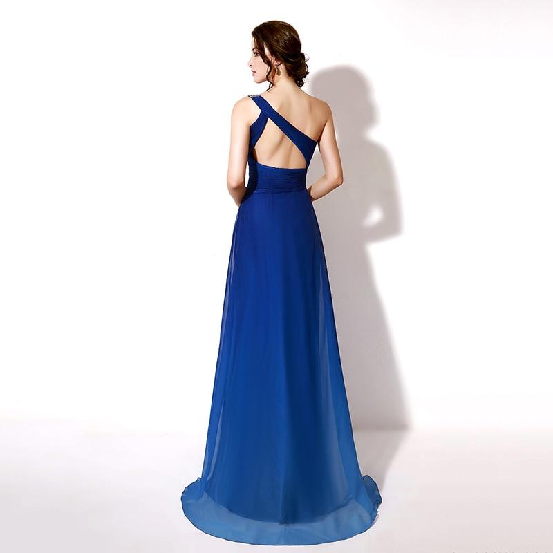 Sexy Cut Out Back Prom Kjoler En Shoulder A-Line Long Evening Dresses - Spesielle anledninger kjoler - Bilde 5