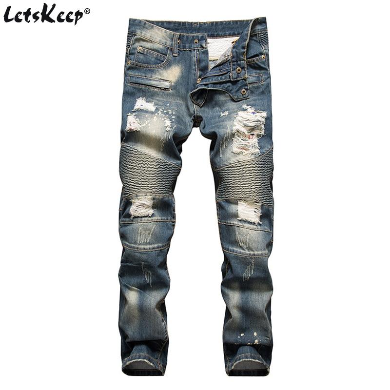 LetsKeep mens rasgado biker jeans homens impressão listrado skinny - Roupas masculinas