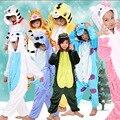 Crianças Flanela Animal Cosplay Pijamas Crianças Oneise Inverno Da Menina do Menino Trajes de Festa de Halloween Pokemon Unicórnio Gato 2-11 t