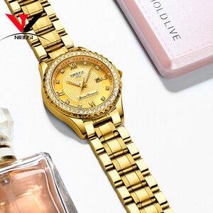 Image 2 - NIBOSI זהב שעון נשים 2019 יוקרה מותג נשים שעונים עמיד למים אופנה שמלת יהלומי קוורץ מותג ליידי יד שעונים Saat