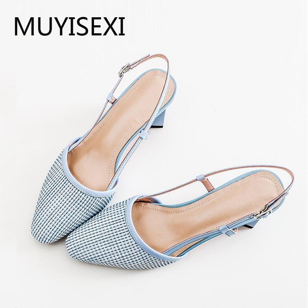Ayakk.'ten Kadın Pompaları'de Hakiki deri içi boş yuvarlak toe toka sapanlar slingback kadın sandalet yüksek topuklu yaz güneş koruma ayakkabı FLD06 MUYISEXI'da  Grup 1