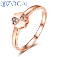 ZOCAI Brand Style Gift Ring Princess Natural 0.03 CT Diamond Ring with Real 18K Rose Gold (Au750) W06271
