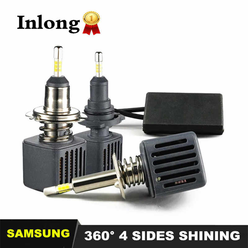 Inlong With SAMSUNG Chips H7 H4 Led 4 Sides Lamp HB3 9005 LED H11 H1 D2s Bulbs Car lights  10000LM 6500K Fog Lights led HB4 9006