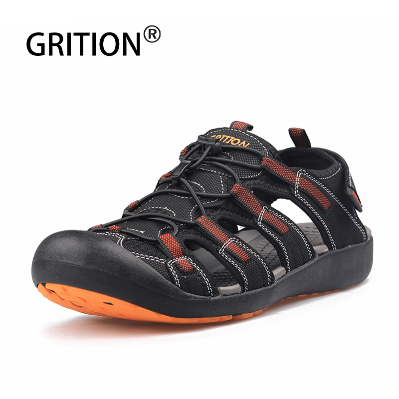GRITION Sandals Men Walking Sport Summer Outdoor Comfy Hiking Shoes Beach Casual Flat Male Water Breathable Leather Adjust Shoes