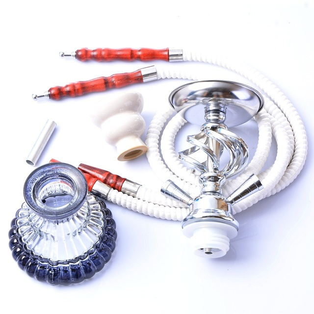 Glass Hookah Set Portable Shisha Pipe with Double Hoses Ceramic Tobacco Flavors Bowl Charcoal Tongs Chicha Narguile Accessories 4