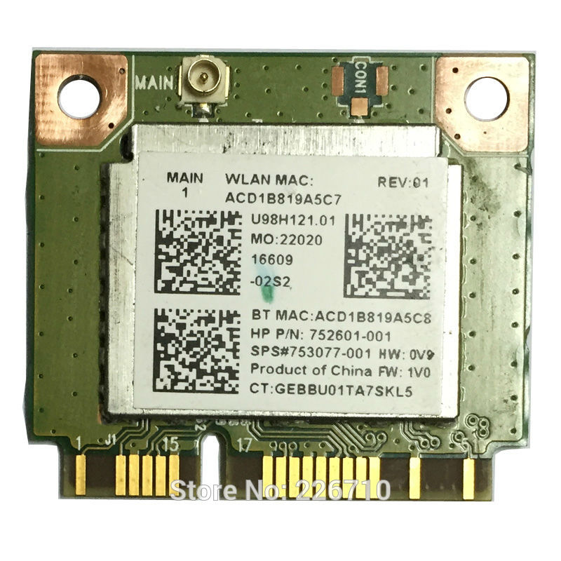 Realtek RT8723BE 802.11bgn 1x1 Wi-Fi + BT4.0 Combo Adapter 150mbps 752601-001 753077-001 For HP 250 G3 WIFI WLAN CARD