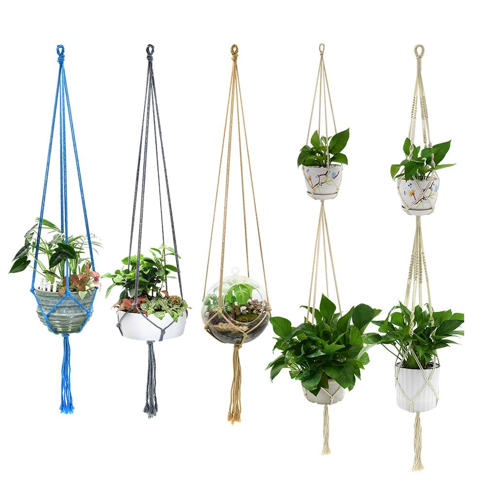 225 & US $0.82 33% OFF New 1PC Macrame Plants Hanger Hook 4 Legs Retro Flower Pot Hanging Rope Holder String Home Garden Balcony Decoration Wall Art-in ...
