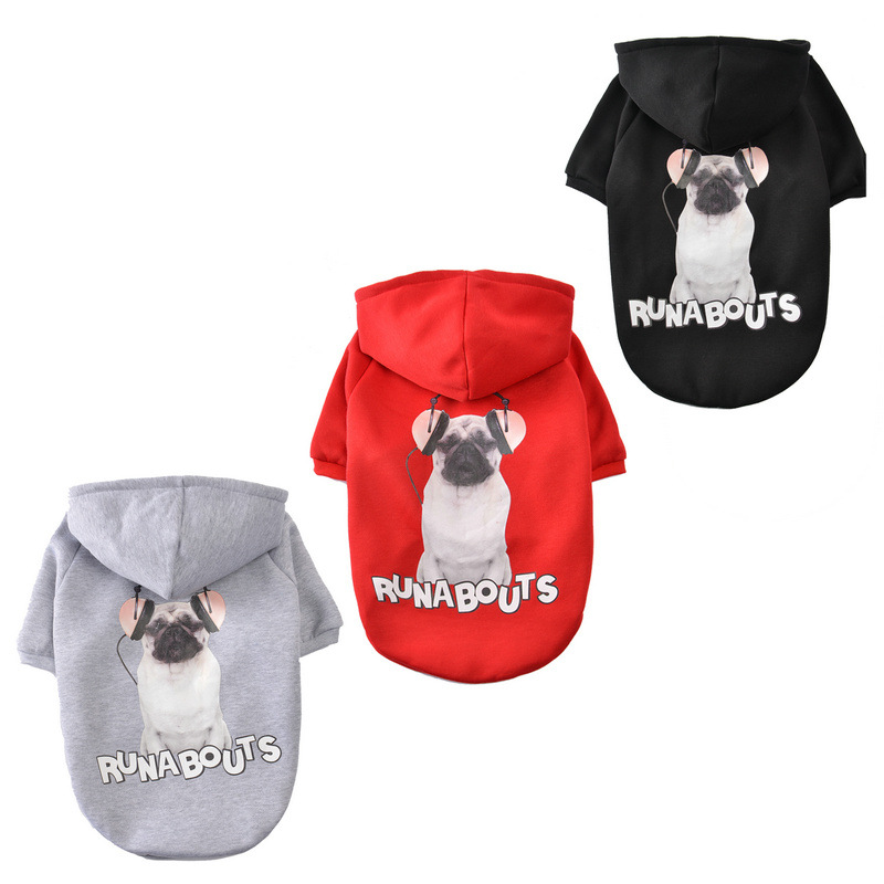 2018 NEW Dog Hoodies French Bulldog Puppy Clothes Pet Coat Jacket Solid Color Polyester For Bulldog Spring Autumn Big Dog Print
