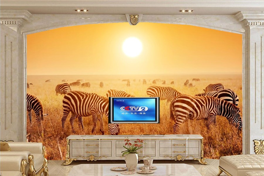 Custom papel de parede,Zebras Sunrises and sunsets Animals wallpapers,living room sofa TV wall bedroom 3d wall murals wallpaper beibehang southeast asia style ultra fiber non woven ab wallpapers bedroom living room sofa tv wallpapers papel de parede para