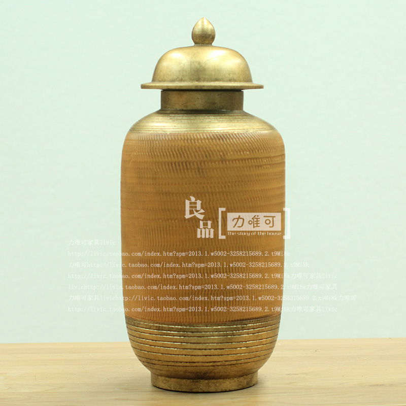 American high-grade ceramic pots Decoration technology to do the old antique gold storage tank temperature ceramic home accessor