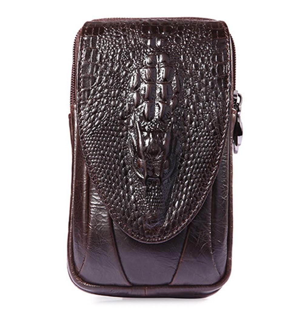 Men Fanny Pack Waist Bag Hip Belt Bum Purse Crocodile Grain Pocket Father Gift Genuine Leather Cell/Mobile Phone Cover Case Bags