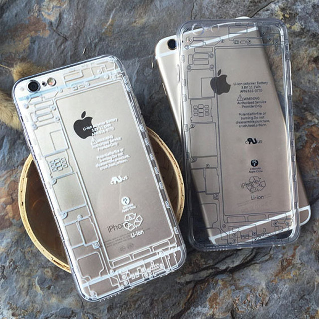 phone case for iphone 6 6s plus fashion circuit diagram clear back cover  soft tpu cases