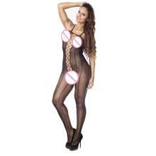 Sexy Lingerie Fishnet Open Crotch vestidos Hollow Out Bodystocking Fetish Sexy Bodysuit Black Underwear Nightclub Sleepwear Hot