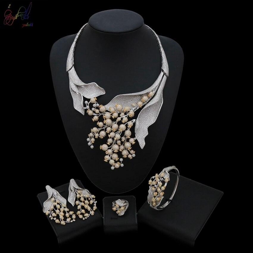 YULAILI grande fleur collier ras du cou Dangle boucle d'oreille ensemble de luxe complet cubique zircone mariage laiton bijoux ensembles pour les femmes