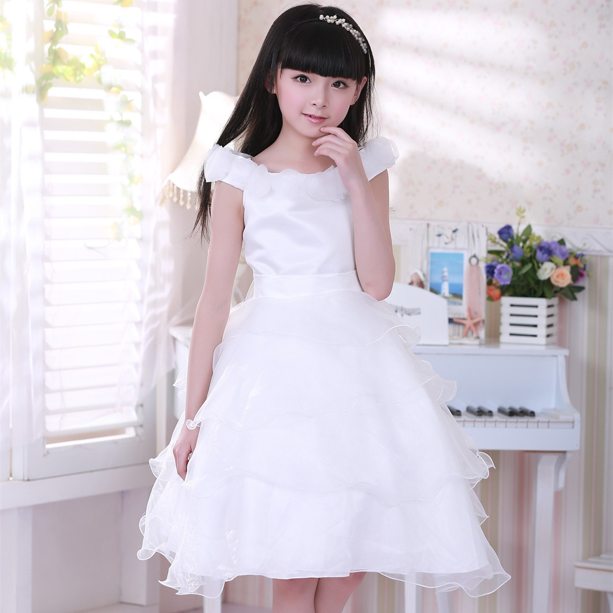 2017 Party Dresses For Girls 12 Years Girl White Flower Wedding Elegant Formal Vestidos Party Wear Child Clothing SKD001478 girls champagne short front long back flower girl dress for wedding trailing formal party vestidos girls clothes 2017 skf154024