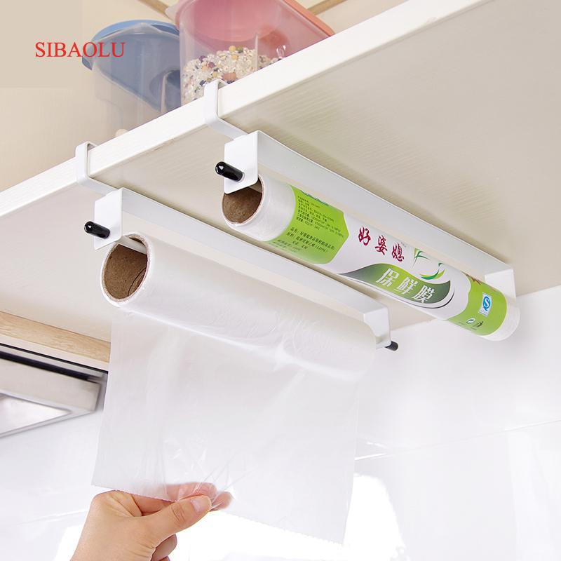 Kitchen Food Wrap Paper Towel Hanging Holder Cupboard Door Tissue Wiping Paper Organier Wash Cloth Storage