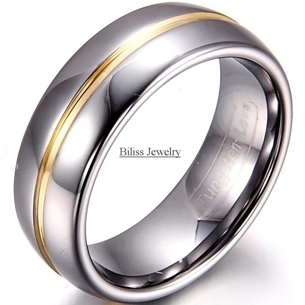 8mm Width Mens Gold Inset Tungsten Carbide Ring Aniversary Engagement Wedding Rings Male Jewelry