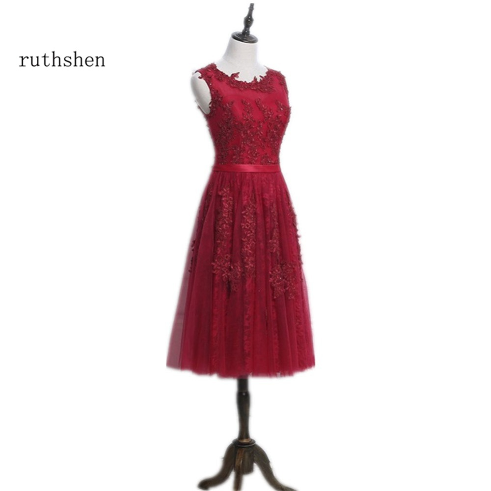ruthshen Burgundy Red Tea Length   Prom     Dresses   Cheap With Lace Beaded 2018 Real Photo In Stock Women Formal Party Gowns