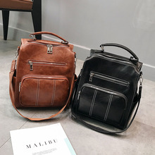 Vintage Leather Backpack Women Female Multifunction Schoolbag Rucksack Brown Large School Bags Teenage Girls Back Pack