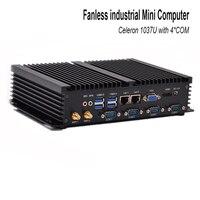 חמה למכירה מיני מחשב celeron 1037u עם USB 3.0 Dual Gigabit Lan 4 COM HDMI תמיכת אתחול אוטומטי XP windows 7 לינוקס