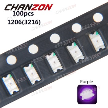 100pcs SMD 1206 (3216) LED Chip Purple UV 20mA SMT Surface Mount Beads Ultraviolet 395nm - 400nm LED Light Emitting Diode Lamp