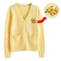 Autumn Women Japan Preppy Style Sweater Cute Anime Pikachu Embroidery Knitwear JK Uniform School Girls Long Sleeve Cardigans