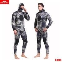 Sbart Men 5mm Wetsuit neoprene Freediving spearfishing Diving suit snorkel swimsuit Split Suits combinaison hat surf wetsuit