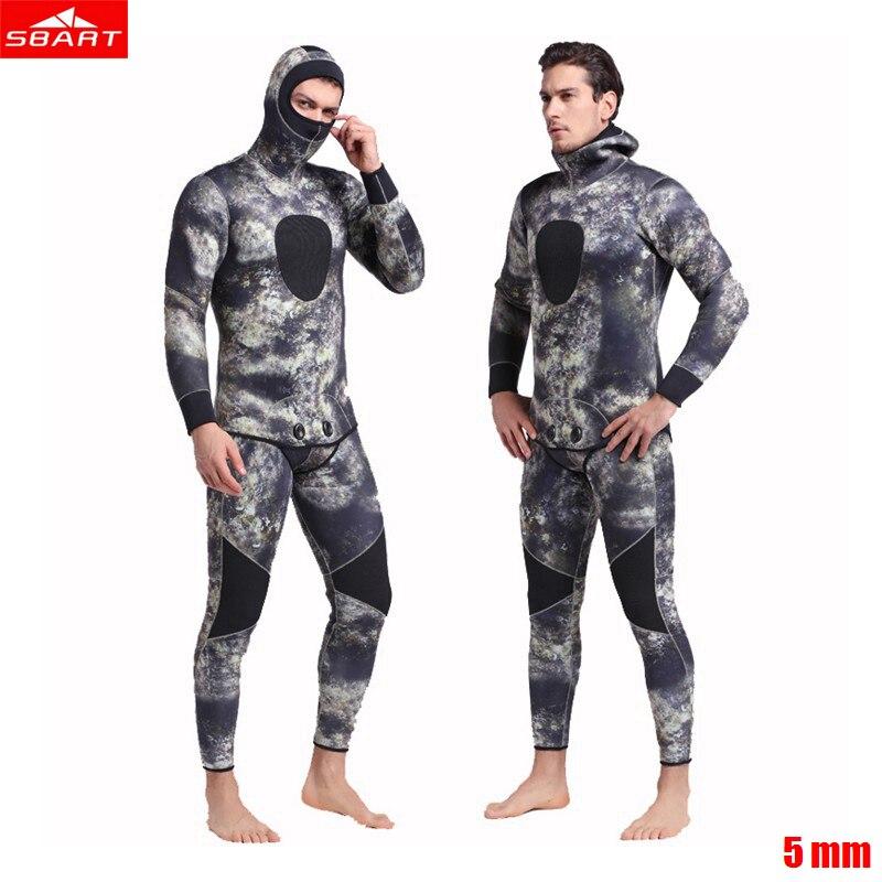 Sbart hommes 5mm combinaison néoprène apnée plongée sous-marine plongée sous-marine maillot de bain tuba combinaison de combinaison