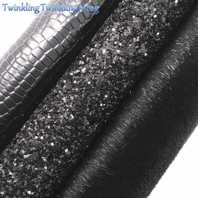 BLACK Glitter Fabric, Crocodile Faux Leather Fabric, Immitation Fur Synthetic Leather For Bows  A4 8