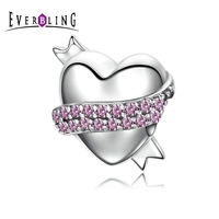Everbling Jewelry Ribbon Hug Gentle Heart Pink CZ 100 925 Sterling Silver Charm Beads Fit European
