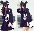 4xl plus size sweatshirts women spring autumn winter 2016 bermuda feminina cartoon mickey long sleeve cute dress female A1418