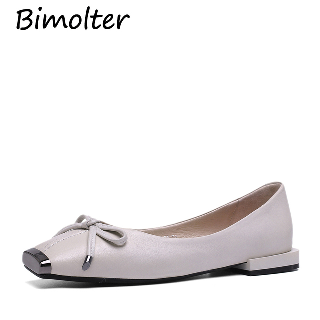 Bimolter Ballet Flats Shoes Women Genuine Leather Ballerina Summer Casual Black Slip on shoes for Women slipony mocasin NC094