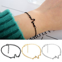Hot Sale Trendy Korean Ecg Heart Rate Lightning Wave Silver Gold Black Color Bracelet Bangle for Women Men Couple Simple Jewelry(China)
