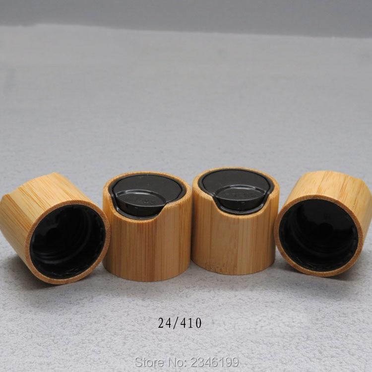 40pcs/lot 24/410 Bamboo Wooden Press Cap, DIY Cosmetic Black Lotion Lid, Bamboo Makeup Tools, 24mm Bamboo Cosmetic Cream Cover