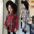 2017 spring and autumn hot fashion children's cotton shirt girl in the big child grid stitching wild shirt