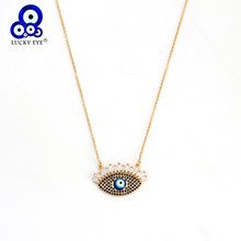 Lucky Eye Pendant Necklace Long Gold Color Chain Blue Turkish Evil Eye Charm Neckalce Micro Pave Zircon Jewelry for Women EY6321(China)