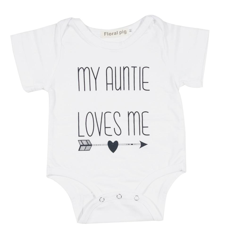 Mijn tante Love Me brief afdrukken met Cupid pijl witte korte mouwen - Babykleding - Foto 1