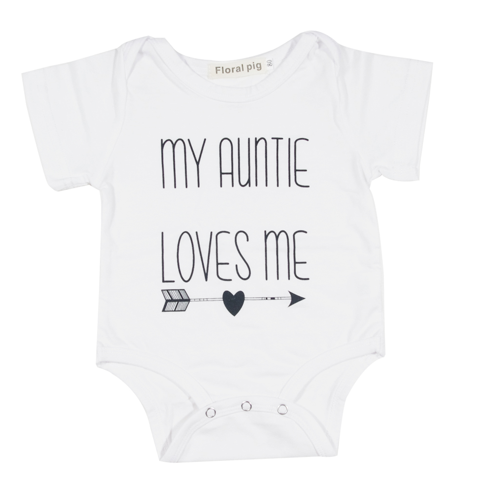 2017 Newborn Infant Clothes My Auntie Loves Me Print White Short Sleeve Tiny Cottons Baby Bodysuits Unisex Kid Clothings Fashion